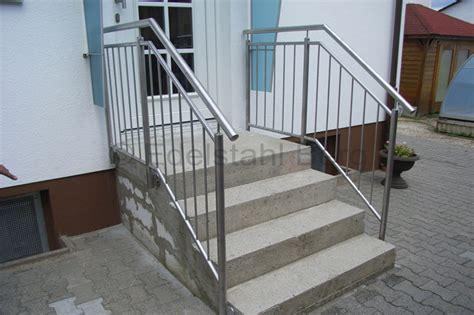 treppengeländer aussentreppe treppengel 228 nder aus edelstahl an einer geraden au 223 entreppe