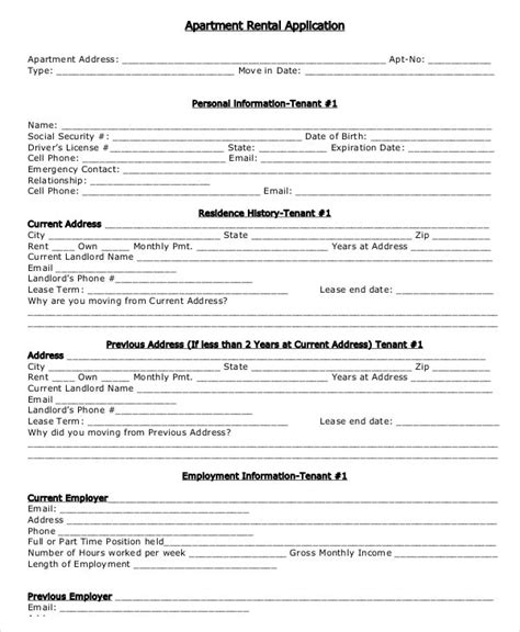 17 Printable Rental Application Templates Free Premium Templates Apartment Application Template Free