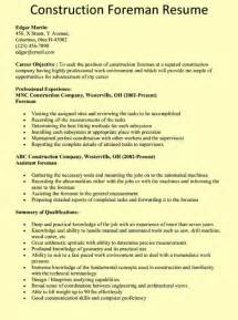 construction foreman resume exle chicago resume exles construction