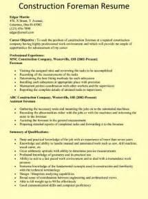 Resume Builder Gc Ca Construction Foreman Resume Exle Chicago