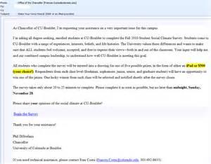 Invitation Letter Questionnaire Cu Boulder Oda 2010 Student Social Climate Survey