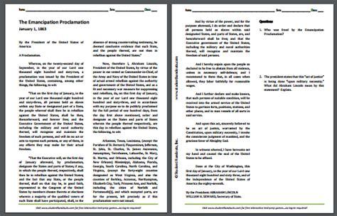 emancipation proclamation worksheet the emancipation proclamation 1863 free printable dbq