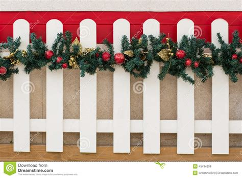 christmas decorations for fences picket fence and decorations stock image image 45434209
