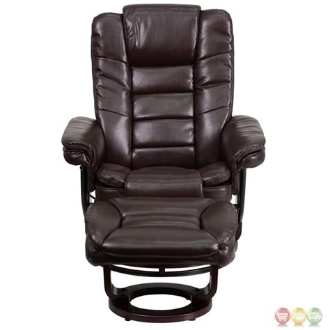 leather recliner contemporary contemporary brown leather recliner ottoman w swiveling