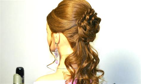 hair and romantic prom hairstyle for long hair with braided flower