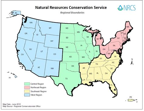 regional map of the usa regional conservationists nrcs