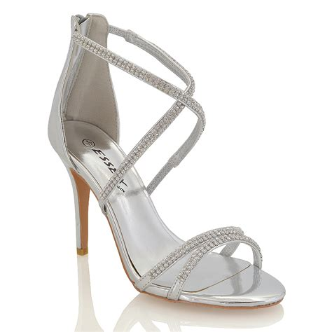 High Heels Import Gea49177bk womens stiletto high heel diamante strappy bridal sandals shoes ebay