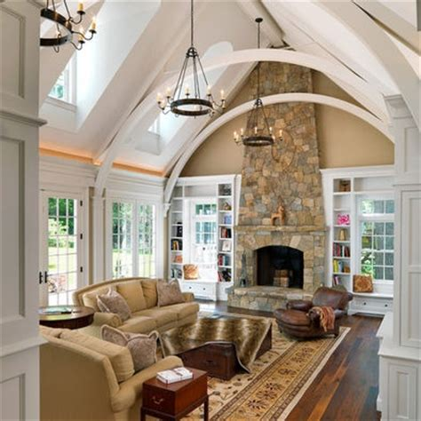 great living room ideas i m not sure about the arched beams but i love the high