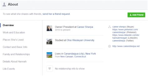 facebook about section prepare your facebook profile for job search career sherpa