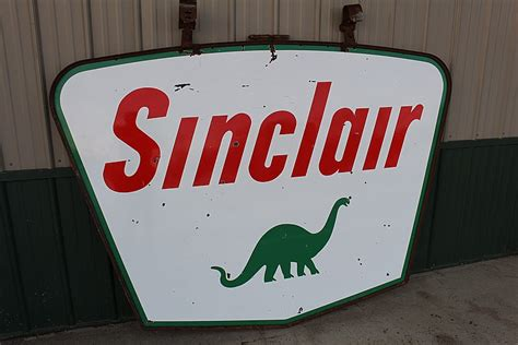 Frame Sinclair porcelain sinclair gas station sign in iron frame