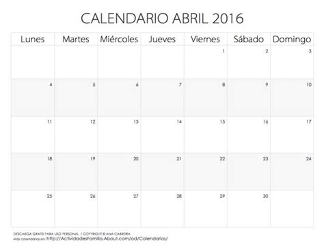 calendario progresar mes abril 2016 calendarios 2016 para imprimir calendario abril 2016