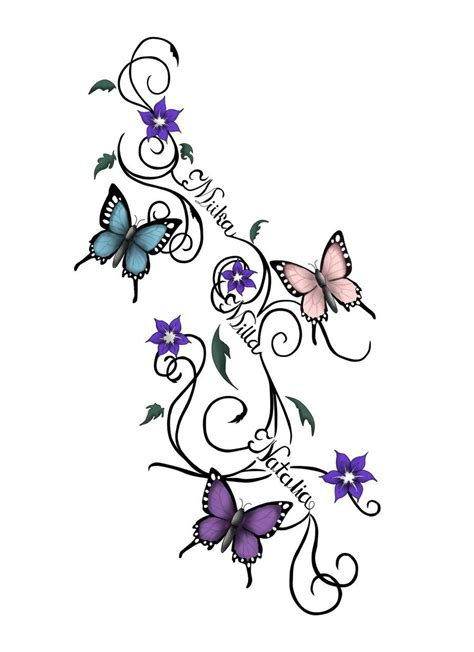 flower with name tattoo designs butterfly and flower designs butterflies