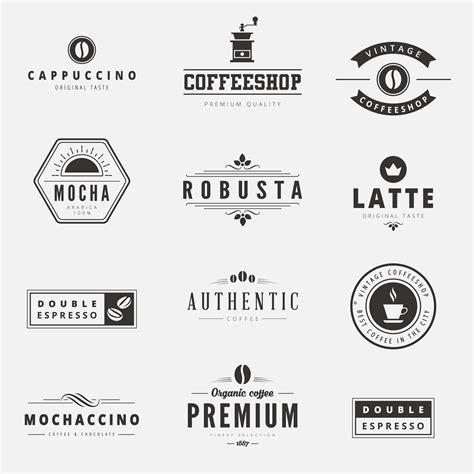 typography template coffee retro vintage labels logo design vector typography lettering inspiration templates