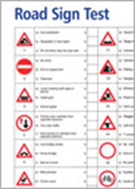 printable road signs for driving test leaflets