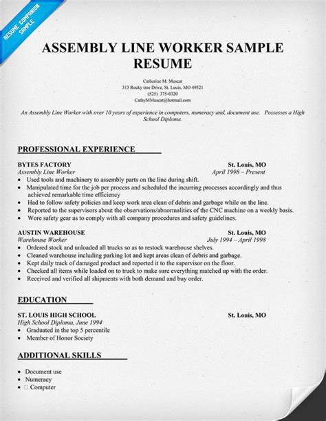 sle resume for assembly line operator cover letter sle for factory cover letter templates