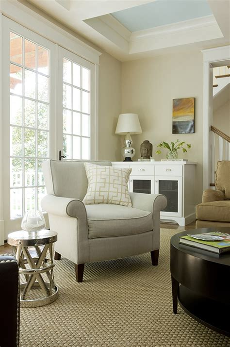Living Room Paint Beige Painted Coffered Ceiling Transitional Living Room