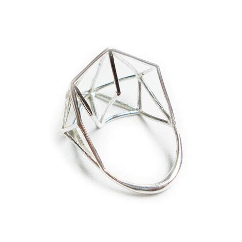 geometric pattern ring architectural structure wide geometric sterling ring my