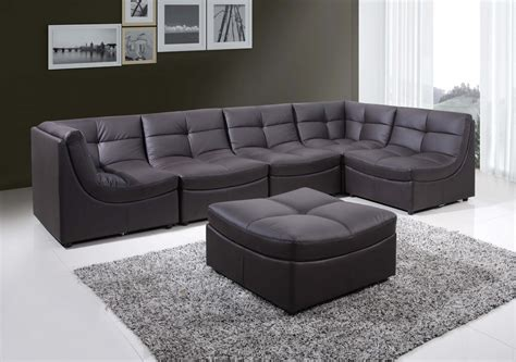 the cloud leather sectional 9148 6 pcs brown cloud modular sectional w ottoman