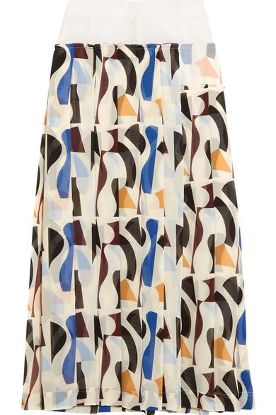 Net A Porter Mid Season Sale by Beckham Pleated Printed Georgette Midi Skirt