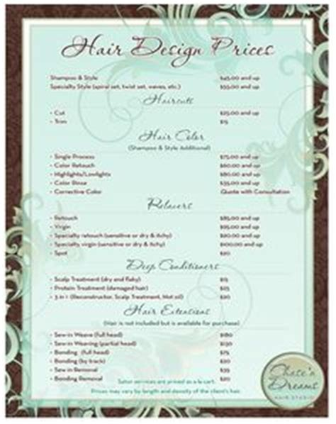 1000 Images About Salon Pricing On Pinterest Price List Hair Salon Prices And Salons Price Menu Template