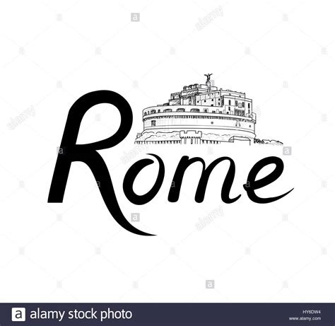 rome clipart rome place with lettering travel italy background