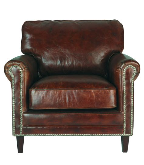 distressed brown leather armchair distressed leather armchair in brown sinatra maisons du monde