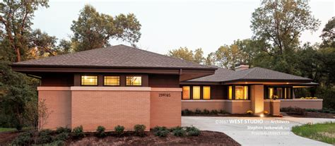 modern frank lloyd wright style homes hillside house front exterior 2 prairiearchitect