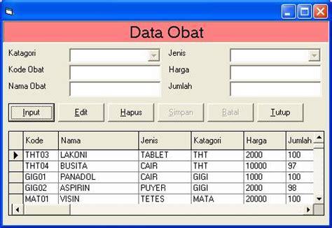 membuat database obat cara membuat program sederhana dengan vb