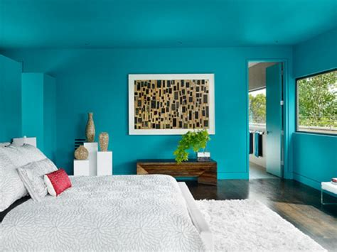 teal color paint bedroom at home interior designing