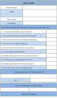 Sample safety audit form sample forms