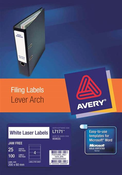 Avery 174 White Trueblock 174 Lever Arch Labels L7171 25 Avery Online Singapore Avery L7171 Template