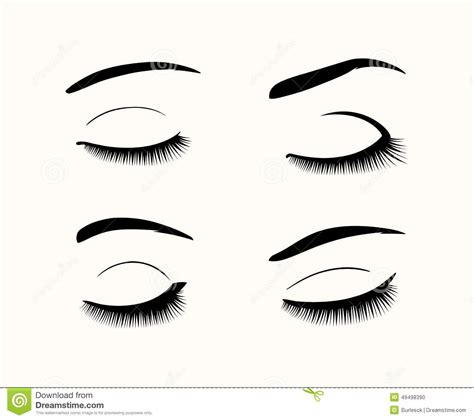 4d Brown Line Iphone 7 vector eyelashes and eyebrows silhouettes stock vector