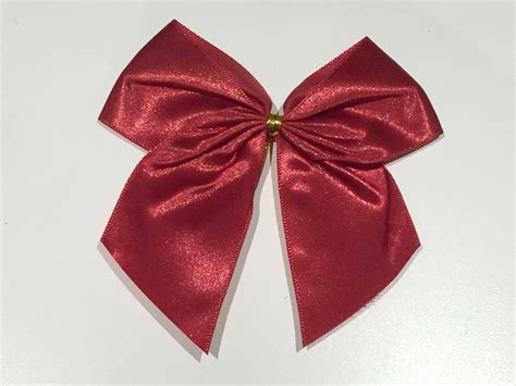 6 extra large red satin christmas bows with gold plastic and