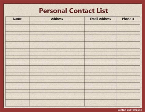 free contact list template free word s templates