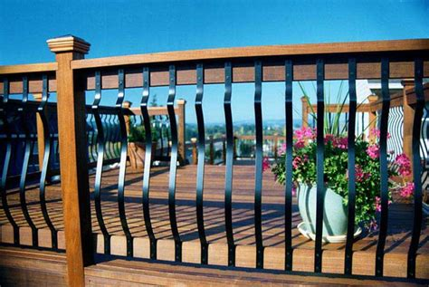 Deck Railing With Iron Spindles Railings Iron Aluminum Vinyl Pvc All4fencing