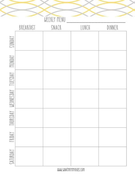 weekly meal planner template with snacks free printable weekly meal planning templates and a week