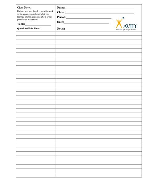 printable cornell notes template 5 best images of cornell note paper printable avid