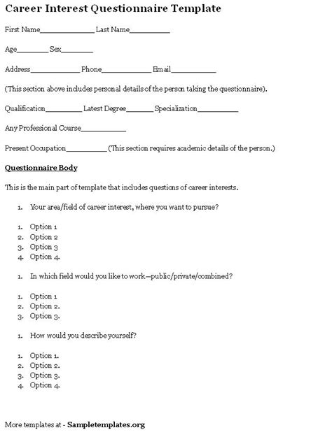 printable careers questionnaire questionnaire template for career interest exle of