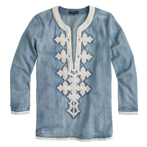 Embroidery Tunic j crew embroidered tunic in chambray in blue