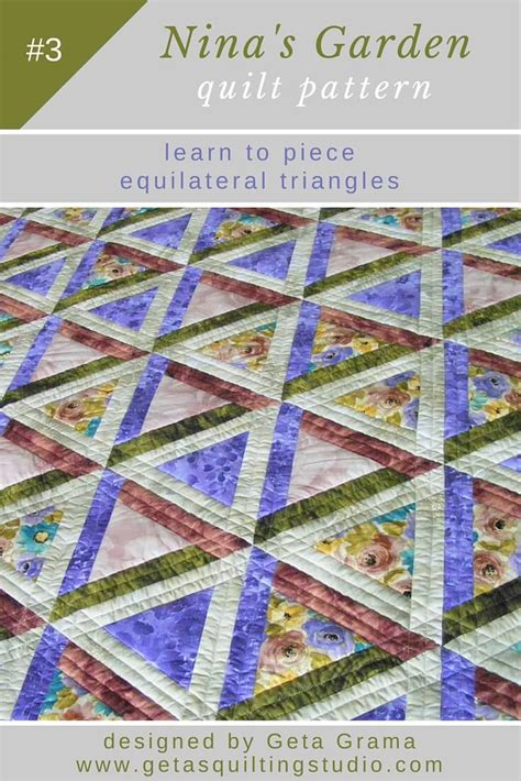 Triangle Patchwork Quilt Pattern Sew Equilateral Triangles How To Use Quilting Templates