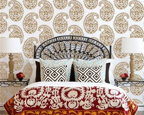 indian block print wallpaper wall decor indian paisley wall stencil for ethnic by royaldesignstencils