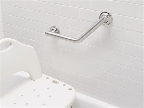 installation of grab bars for bathrooms amazon com moen 8994 24 inch by 36 inch l shaped bathroom