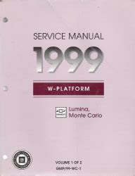 service manuals schematics 1999 chevrolet monte carlo parking system 1999 chevrolet lumina monte carlo factory service manual 2 volume set