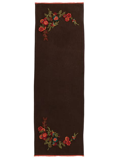 harvest bouquet embroidered table scarf april s attic