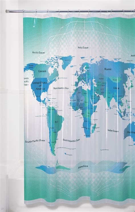 world map bathroom accessories essential home peva shower curtain world map home