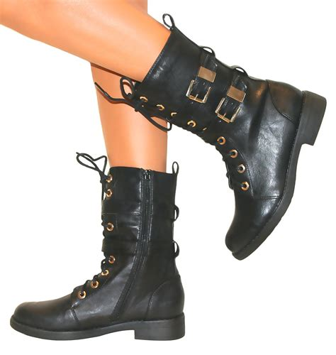 womens boots army combat ankle lace up