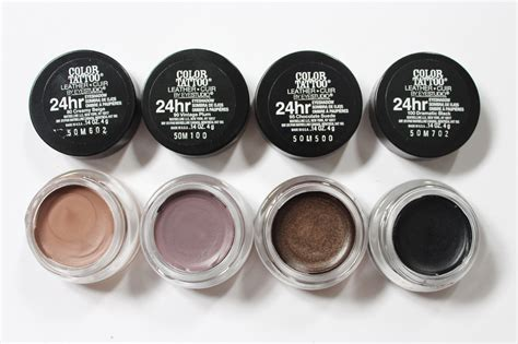 maybelline color tattoo swatches maybelline color 24hr eyeshadow leather review