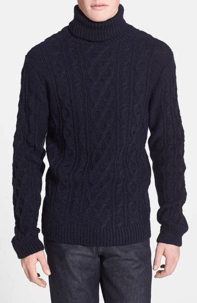 mens cable knit turtleneck sweater topman chunky cable knit turtleneck sweater in blue for