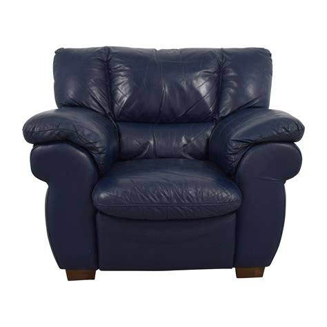 90 Off Macy S Macy S Navy Blue Leather Sofa Chair Chairs Leather Sofa Chairs