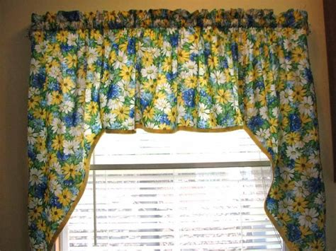 Yellow And Blue Window Valances Kitchen Window Swag Curtain Blue White And Yellow